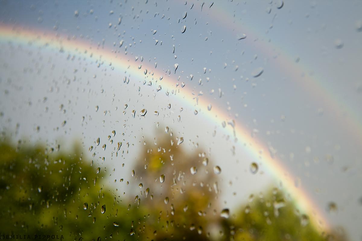 Sateenkaari työhuoneen ikkunasta.